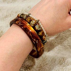 Tortoise Tone Acrylic Bangle Bracelet